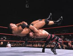 Chris Benoit hitting a German suplex on the Great One!