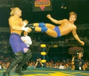 Alex Wright in action against Jean Paul Levesque.